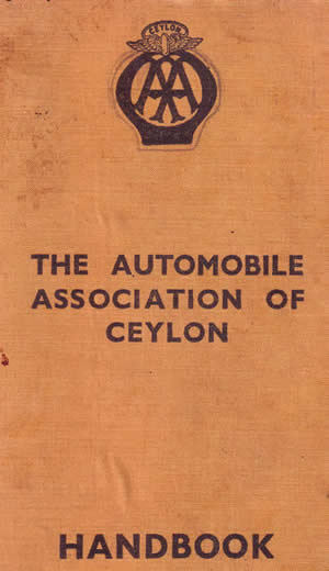 Automobile Association of Ceylon Handbook front cover ~1935