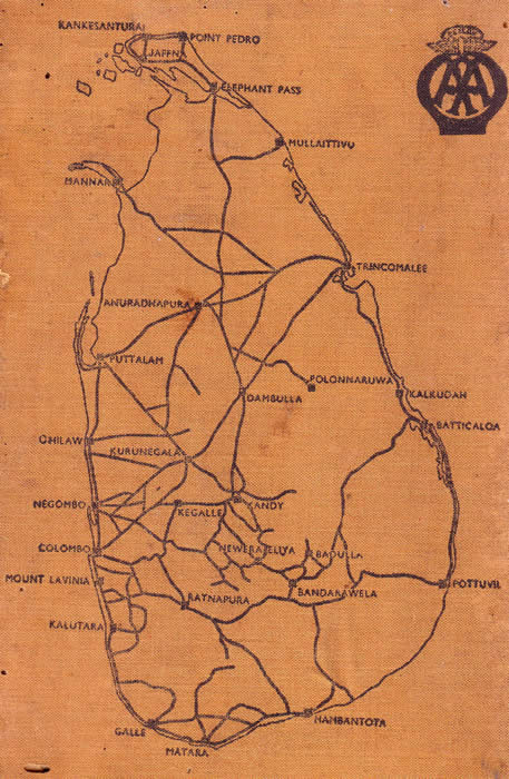 Motor routes in Ceylon circa 1935 from Automobile Association of Ceylon
