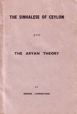 The Sinhalese of Ceylon and the Aryan Theory Samuel Livingstone book cover