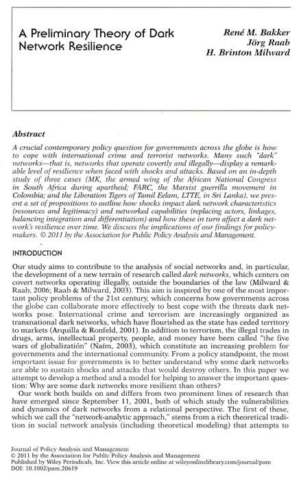 Bakker et al A Preliminary Theory of Dark Network Resilience 2011 LTTE