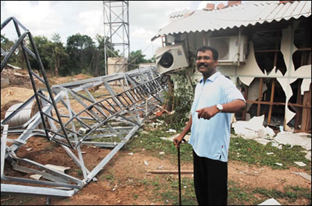 Tamilselvan & Kilinochchi's destroyed telecommunication tower