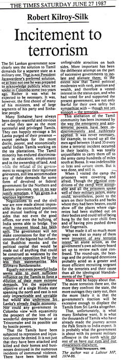 Robert Kilroy-Silk oped The Times London June 27 1987 Incitement to Terrorism Sri Lanka Tamils alienation