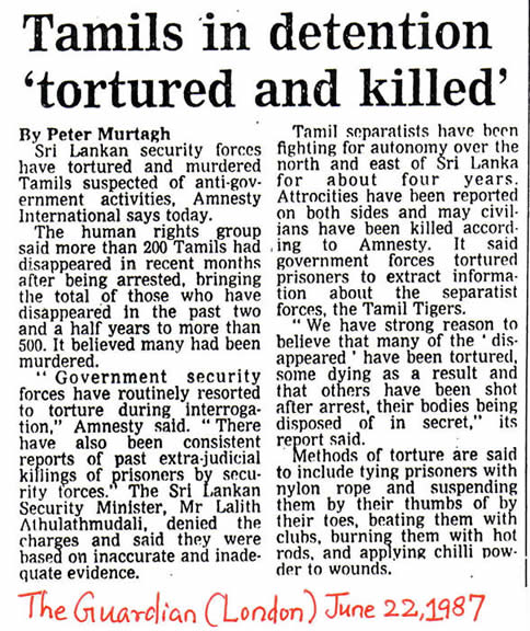 Tamils in Detention Tortured & Killed The Guardian London June 22 1987