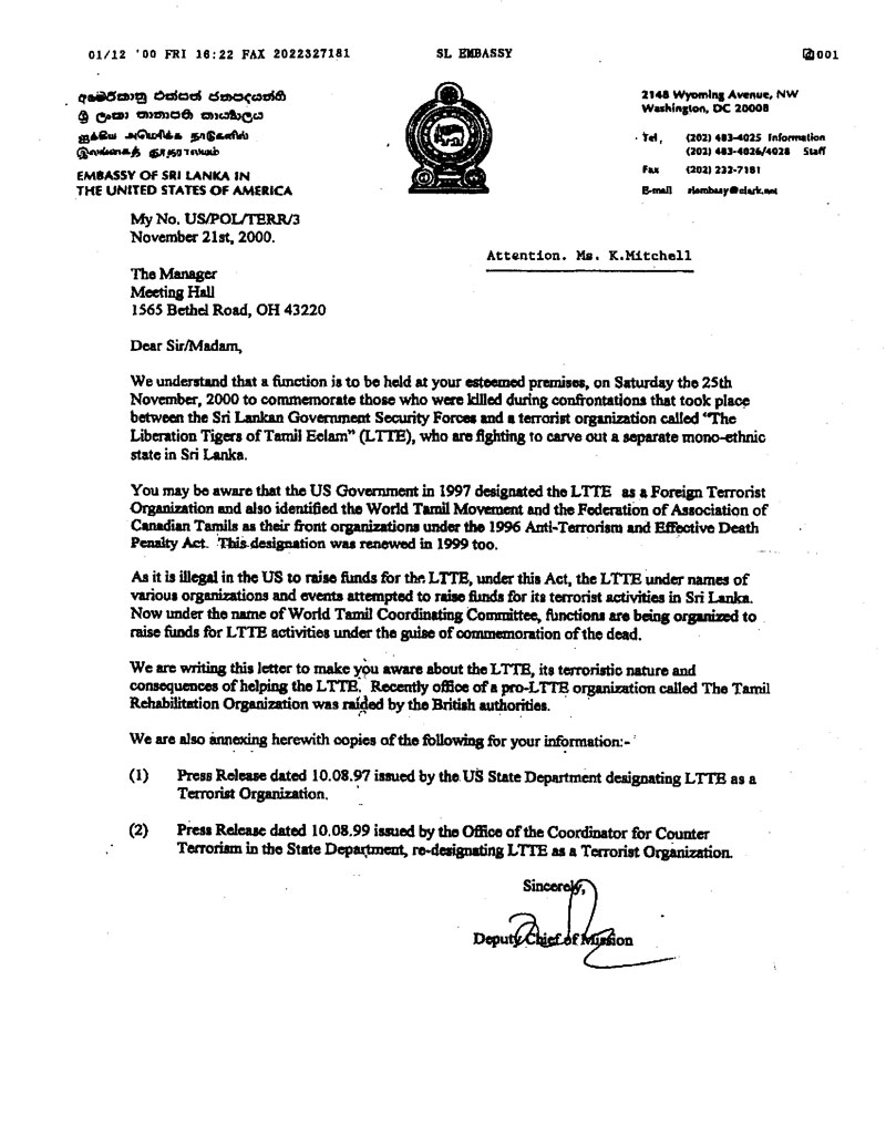 Maveerar in us the letter to the hall owners signed by the deputy chief of mission of the sri lanka stopboris Images